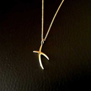 Gold Kiss Pendant Necklace