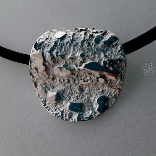 Textured Luna Large Silver Pendant Necklace