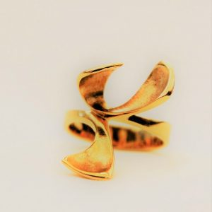 18ct Yellow Gold Triple Petal Dress Ring by Harriet Ferris