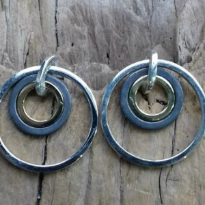 Target Earrings in polished/oxidised silver and gold by Harriet Ferris