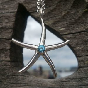 Starfish with Topaz Pendant Necklace by Rob Morris