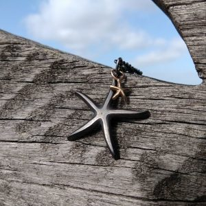Starfish Pendant Necklace - Oxidised with Solid Gold Baby by Rob Morris