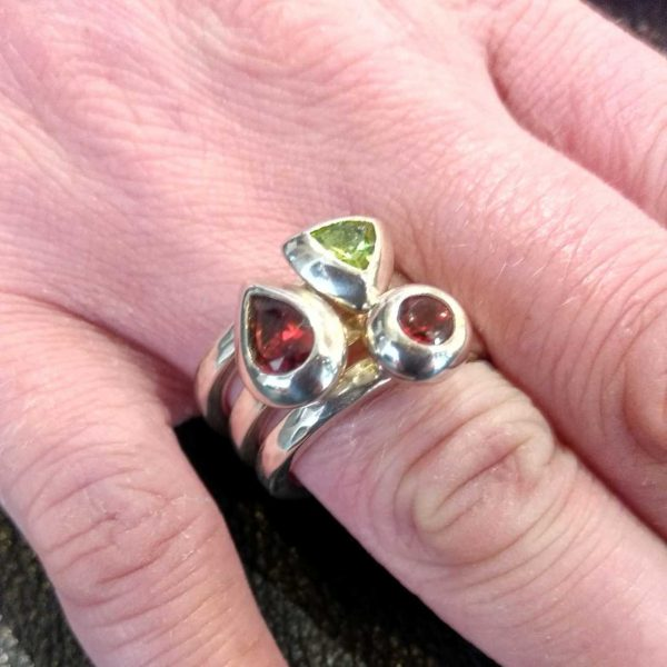 Handmade Silver Stack Rings, Round Silver Mount by Rob Morris