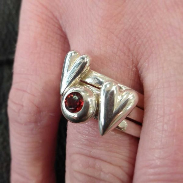 Silver Stack Ring, Round Silver Mount by Rob Morris