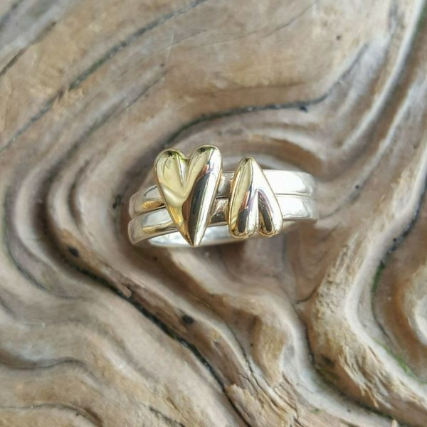Medium Amor Ring in solid silver by Rob Morris with a solid gold heart