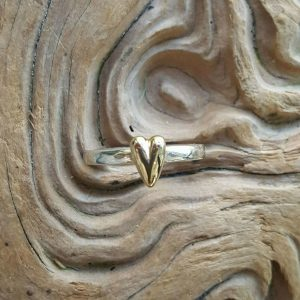 Small Amor Ring in solid silver by Rob Morris with a solid gold heart