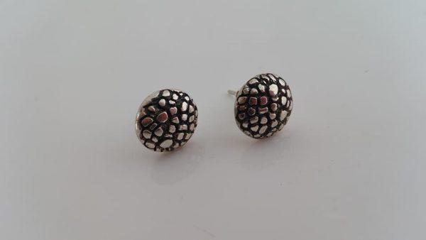 Round textured silver studs