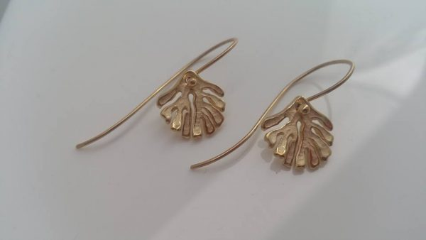 Kelp Drop Earrings in Gold by Rob Morris